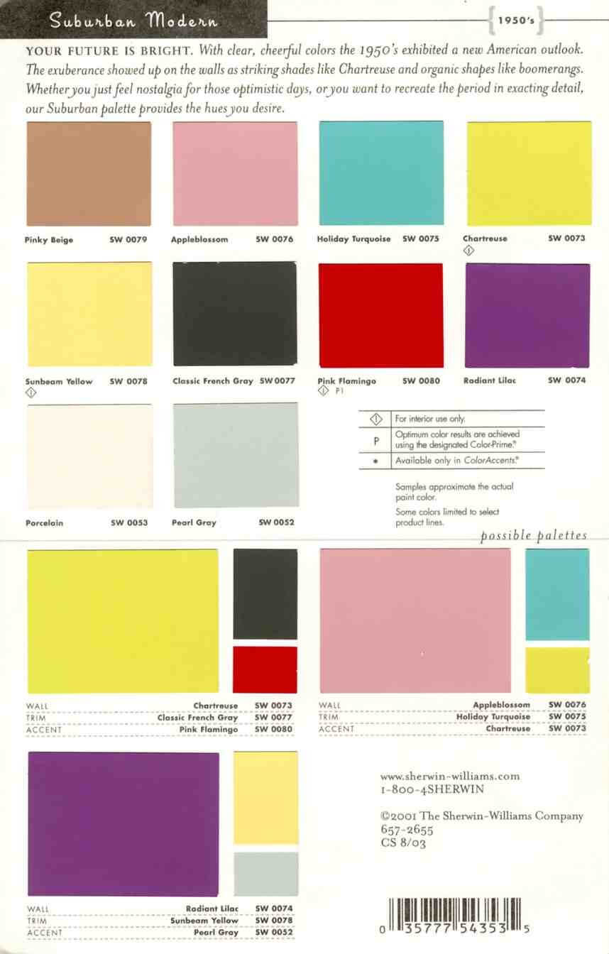 Sherwin Williams Suburban Modern paint colors: #1 for 50s style ... - ^