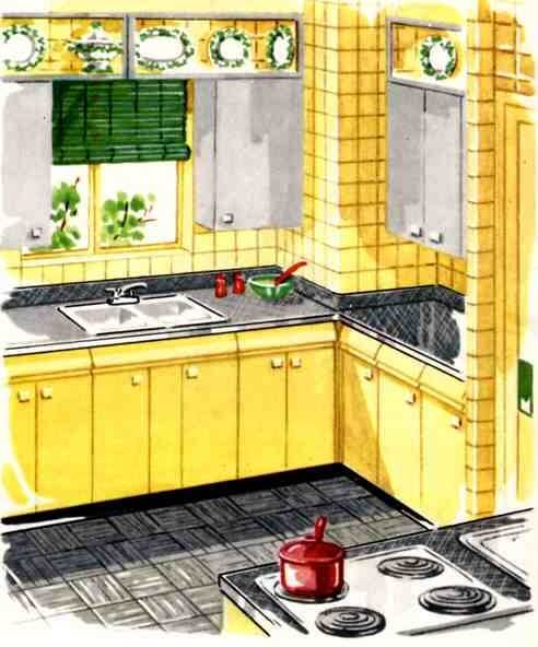 yellow retro kitchens - photo #21