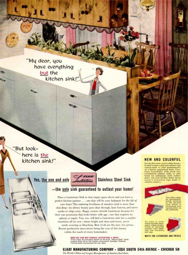 Stainless steel sink, counter, drainboard combos are classic 40s 50s ...