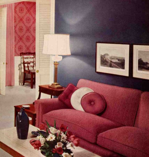 Eclectic decor on pinterest velvet wallpapers and sofas Red and grey sofa
