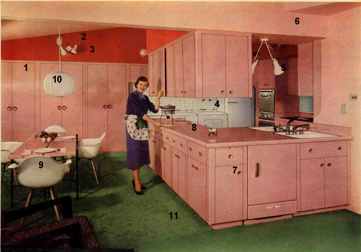 1953 Formica pink kitchen  today's kitchen flashback design  Retro