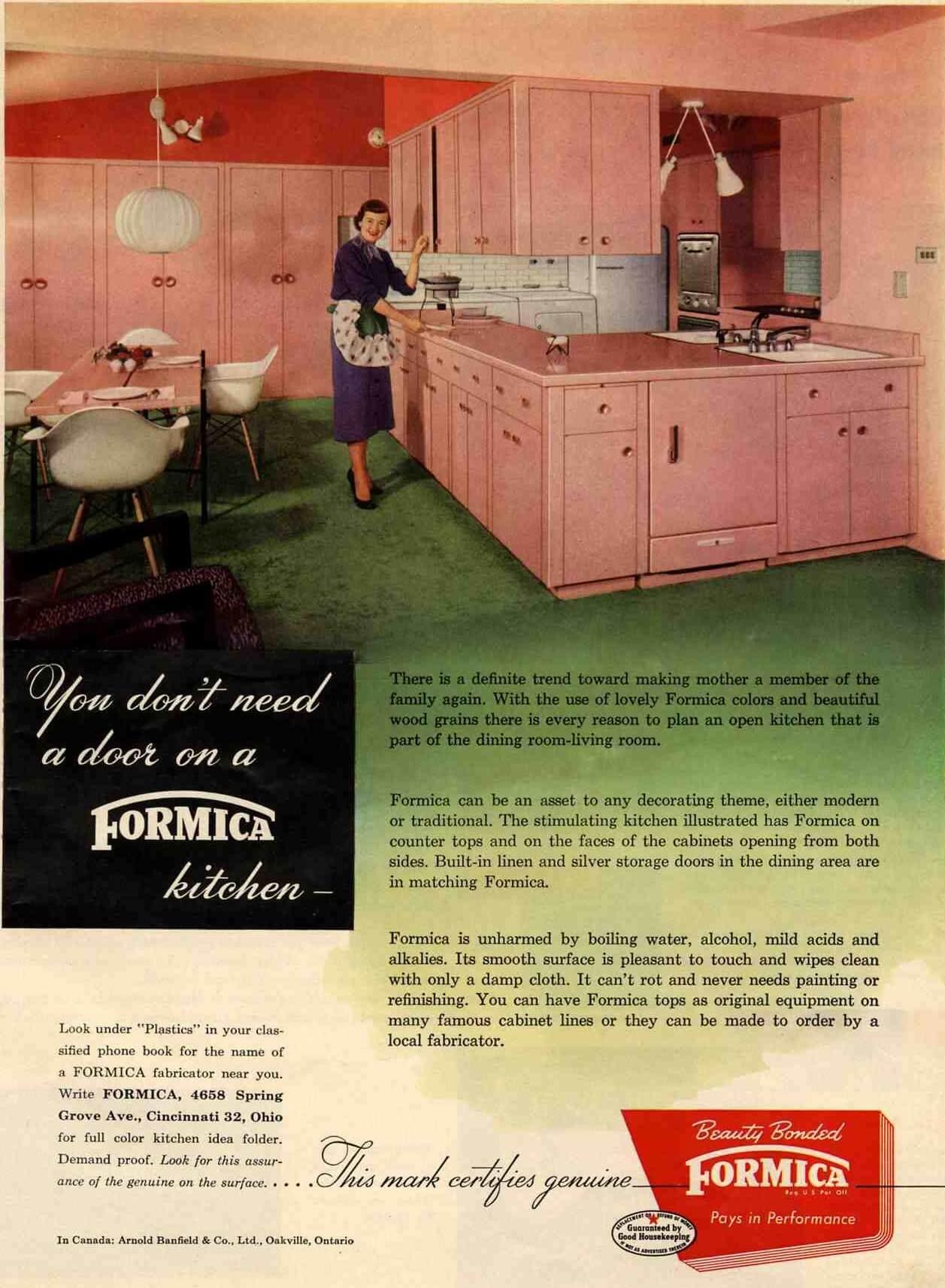 Vintage 1953 pink Formica kitchen