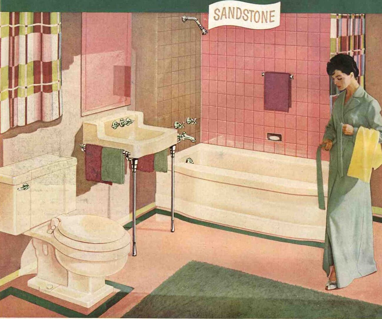 A Pink And Brown 50s Bathroom Soothing Pretty And Retro