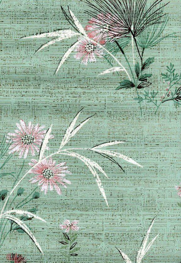 vintage 50s wallpaper aqua flowers