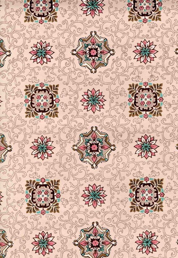 vintage 50s wallpaper pink geo