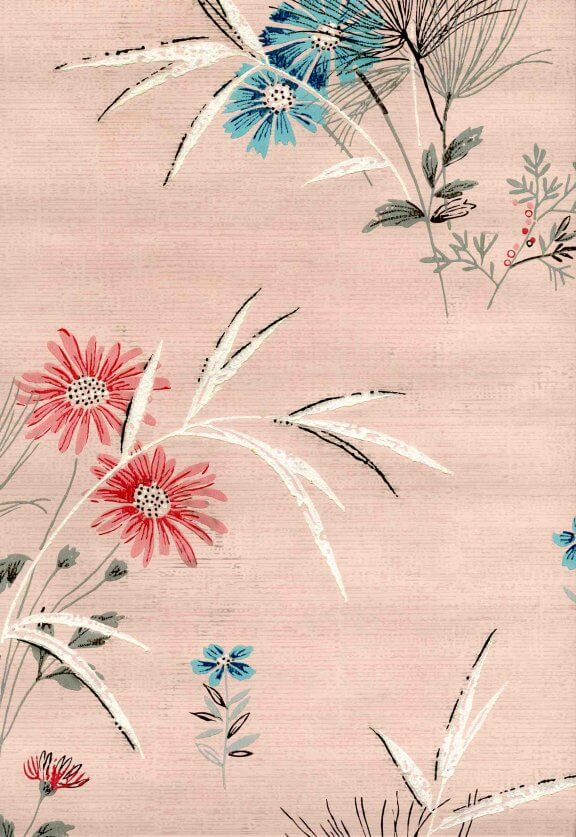 vintage 50s wallpaper pink with flowers