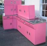 vintage English Rose metal kitchen cabinets