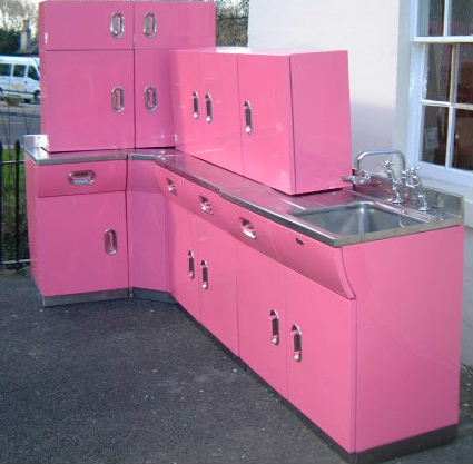 Vintage english rose metal kitchen cabinets from for Steel kitchen cabinets
