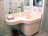 50s pink bathroom vanity