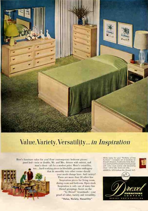 50s bedroom - a very typical bedroom set of Drexel Inspiration ...