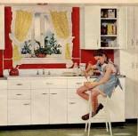 A patriotic 40s kitchen.