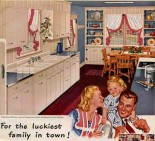 Another patriotic 40s kitchen. These tones are ones that would match up with your existing features. I think these are even the same cabinets as yours!