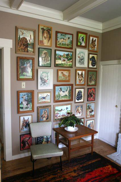 I spent a month buying PBN dogs on ebay to create this dog wall in my dining room.