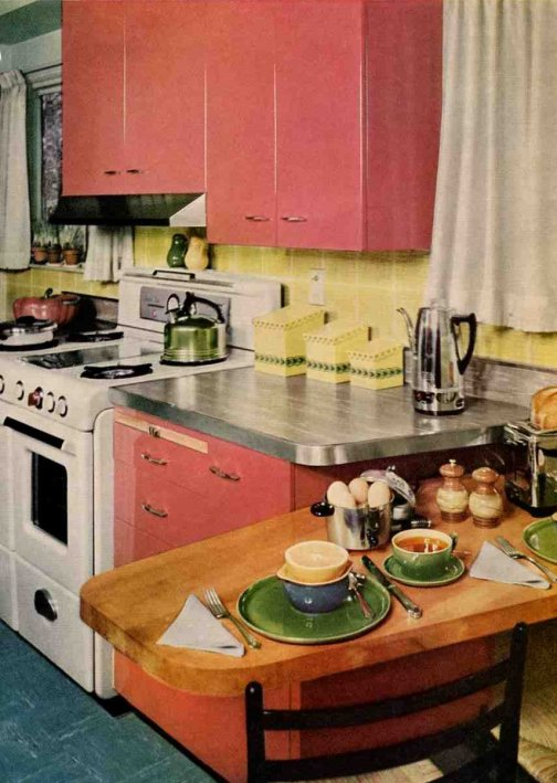 Another good choice for your peninsula or snack bar - is butcher block. 50s and 60s kitchens had a mix and match of countertop surfaces - which looks great
