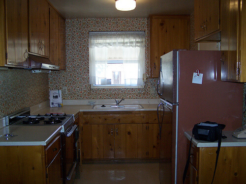 time capsule knotty pine kitchen