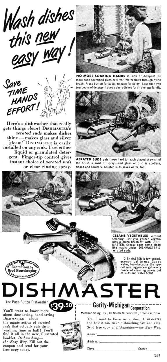 Dishmaster faucet ad 1950