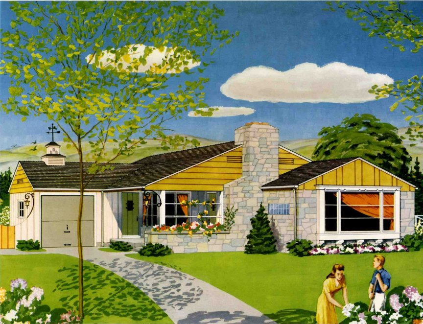 A 1950 american dream house retro renovation for Ranch style dream homes