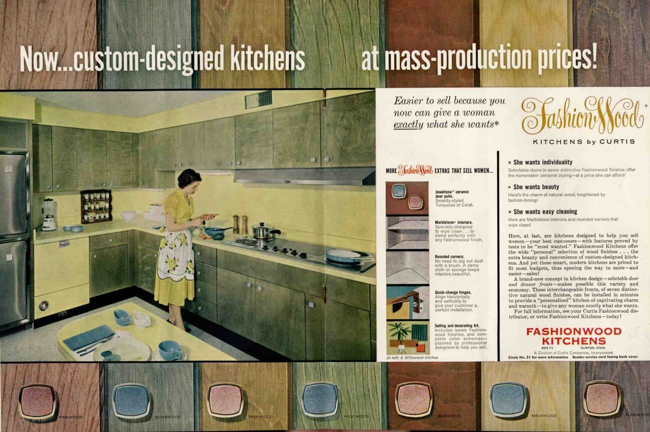Midcentury wood kitchen cabinets in a rainbow of tinted for Retro kitchen paint colors