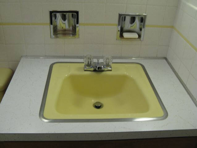 50s-yellow-bathroom-sink - Retro Renovation