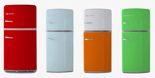 Smeg refrigerators look great for smaller retro renovation for 50s style kitchen appliances