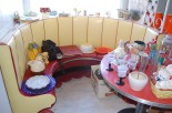 1940s yellow and red built in round dinette
