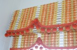 60s orange vintage woven wood valence and shade