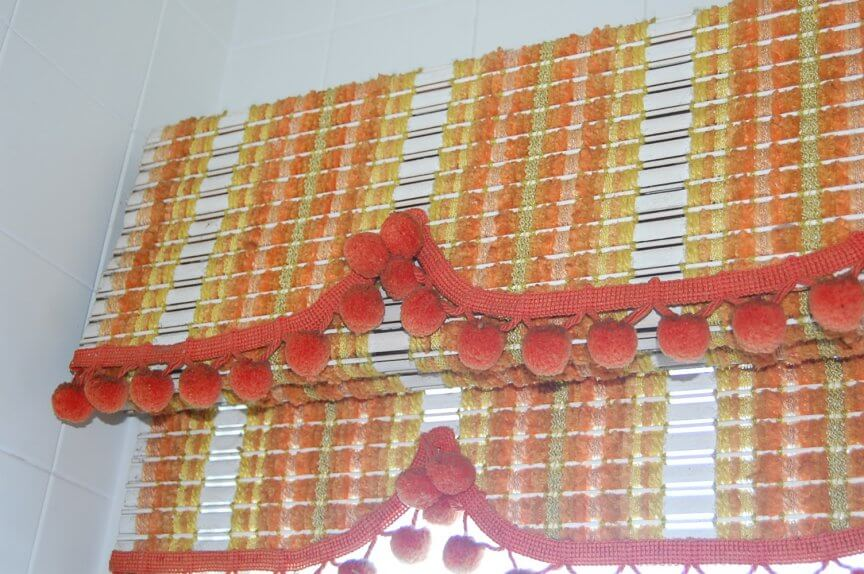 vintage woven wood valence and shade