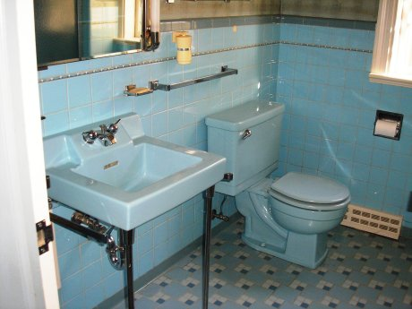 scenes from  blue midcentury bathrooms  retro renovation,