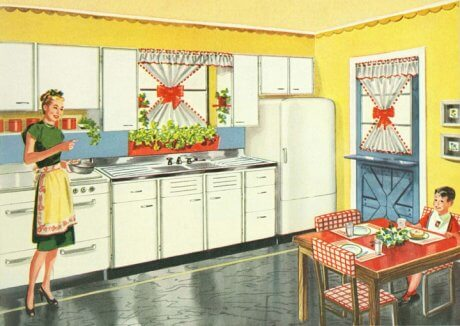 """""""Kitchen No. 7,"""" from the trade catalogue """"Kitchen Hints,""""1947. The Kitchen Maid Corporation, Andrews, Ind., publisher. Collection of Historic New England. Used on this site with their permission."""