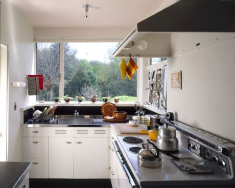 A view of the Gropius House kitchen. Courtesy Historic New England. Used on this site with their permission.