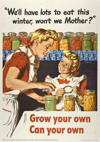 """Office of War Information Poster No. 57, """"We'll have lots to eat this winter, won't we mother?"""" Alfred Parker (1906–1985), graphic designer. (Washington, D.C.: United States Office of War Information, Division of Public Inquires, 1943). Promised gift to Historic New England from private collection. Used on this site with permission from Historic New England."""