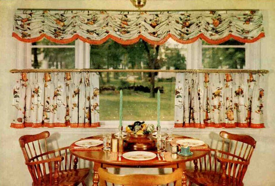 15 cafe curtain designs and ideas retro renovation for Kitchen designs american style