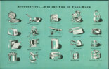 """Kitchen accessories from the trade catalogue """"243 New Ideas for Your Kitchen"""", ca. 1955. Kalamazoo Stoves and Furnaces, Kalamazoo, Mich., publisher. Promised gift to Historic New England from a private collection. Used on this site with permission."""