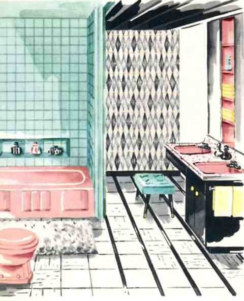 Probably too retro for anyone who already does not like their pink bathroom -- but it gives some ideas on how to play with color and pattern.