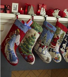 Vintage Needlepoint Christmas Stockings.Lands End Lands End Stockings 1497 2995 Lands End
