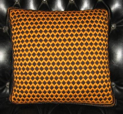 60s bargello needlepoint pillow