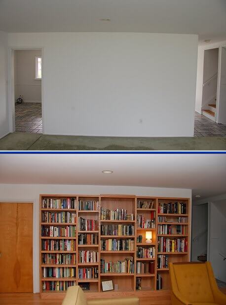 built-in-bookshelf-before-and-after