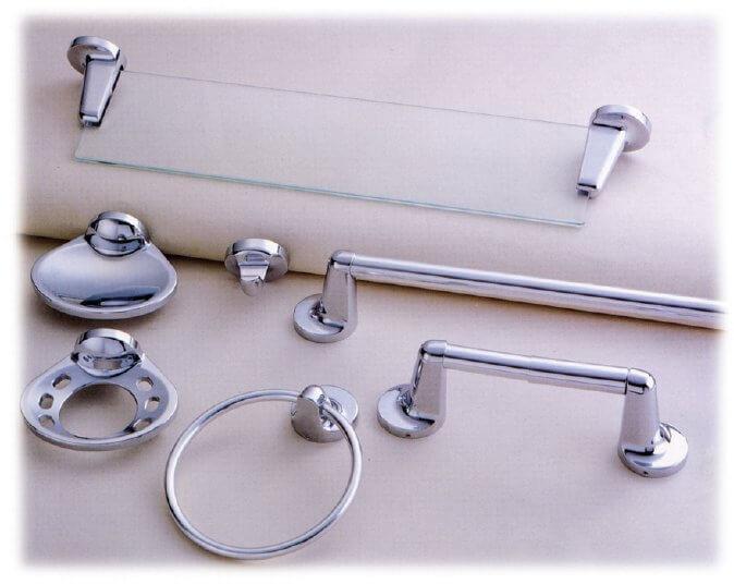 Chrome bathroom hardware