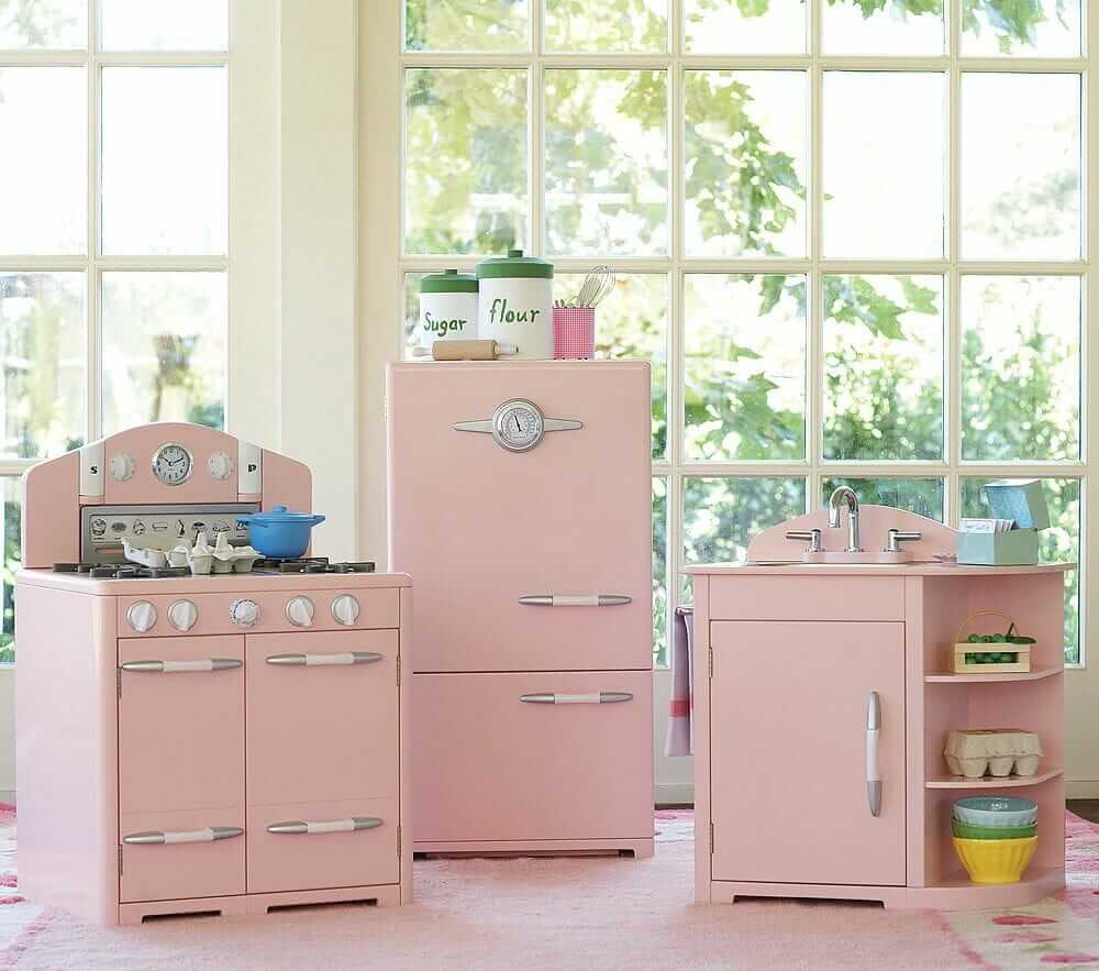 retro pink kitchen at pottery barn too bad it 39 s for kids