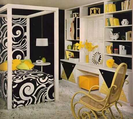 1967-dramatic-yellow-white-black-bedroom