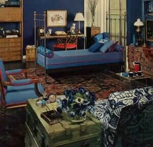 1969 bedroom painted blue