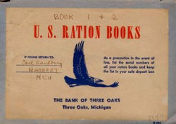 world war ration books from Michigan, from the carl sandburg national historic site