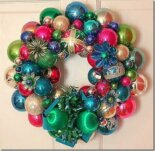 christmas wreath made out of vintage ornaments