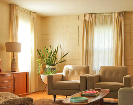 6 tips for using pinch pleat draperies as window treatments for a mid century home retro for Contemporary window treatments for living room