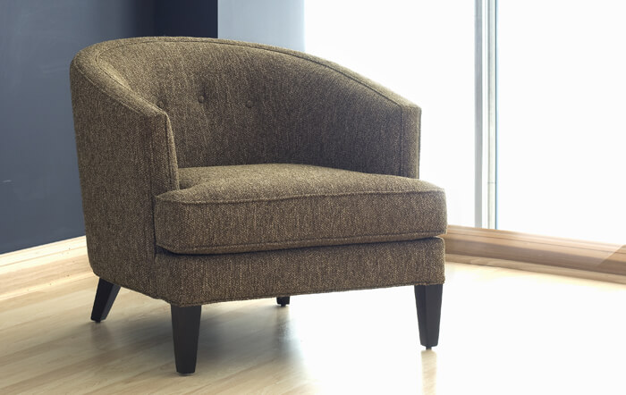 small upholstered barrel chair