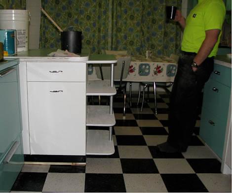 black and white armstrong vinyl tile floor
