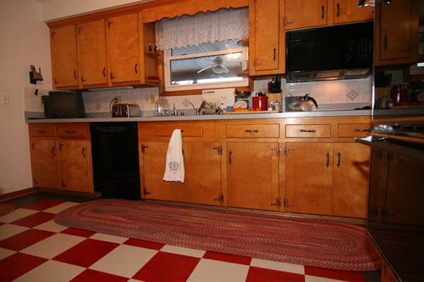 A 1965 Kitchen Updated With Red Checkerboard Linoleum