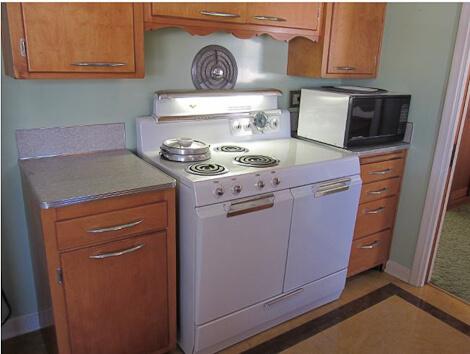vintage stove in 1950s kitchen