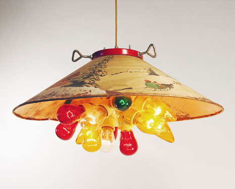pendant light made out of vintage christmas tree holder