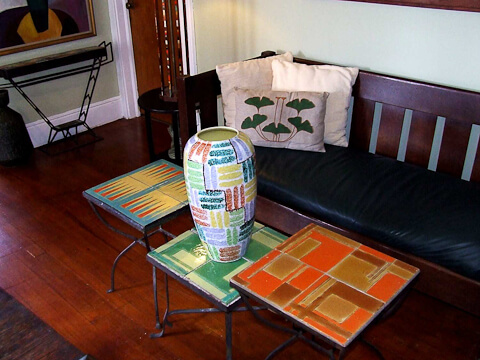 mid century modern tile tables